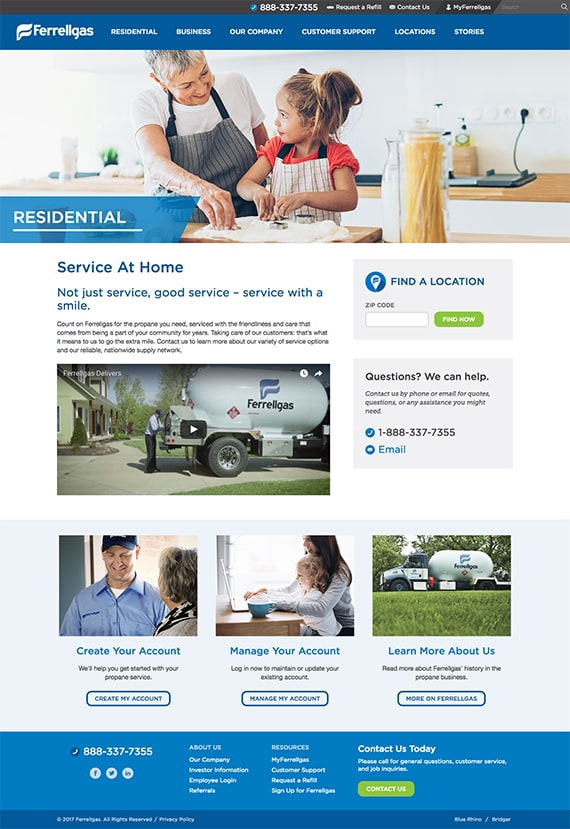 The new Ferrellgas homepage