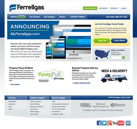 The old Ferrellgas homepage