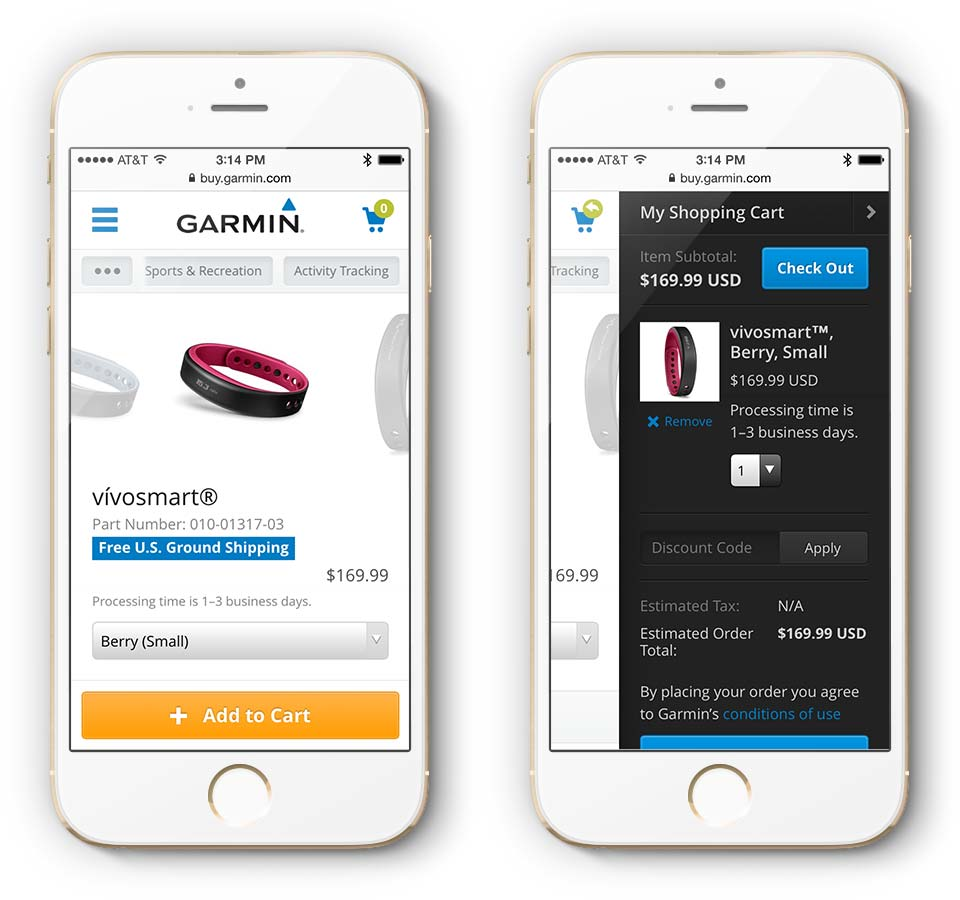 Garmin.com Mobile Product Page and Shopping Cart