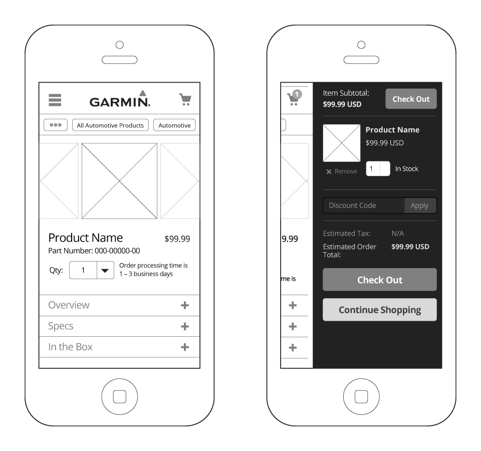 Garmin.com Mobile Wireframes