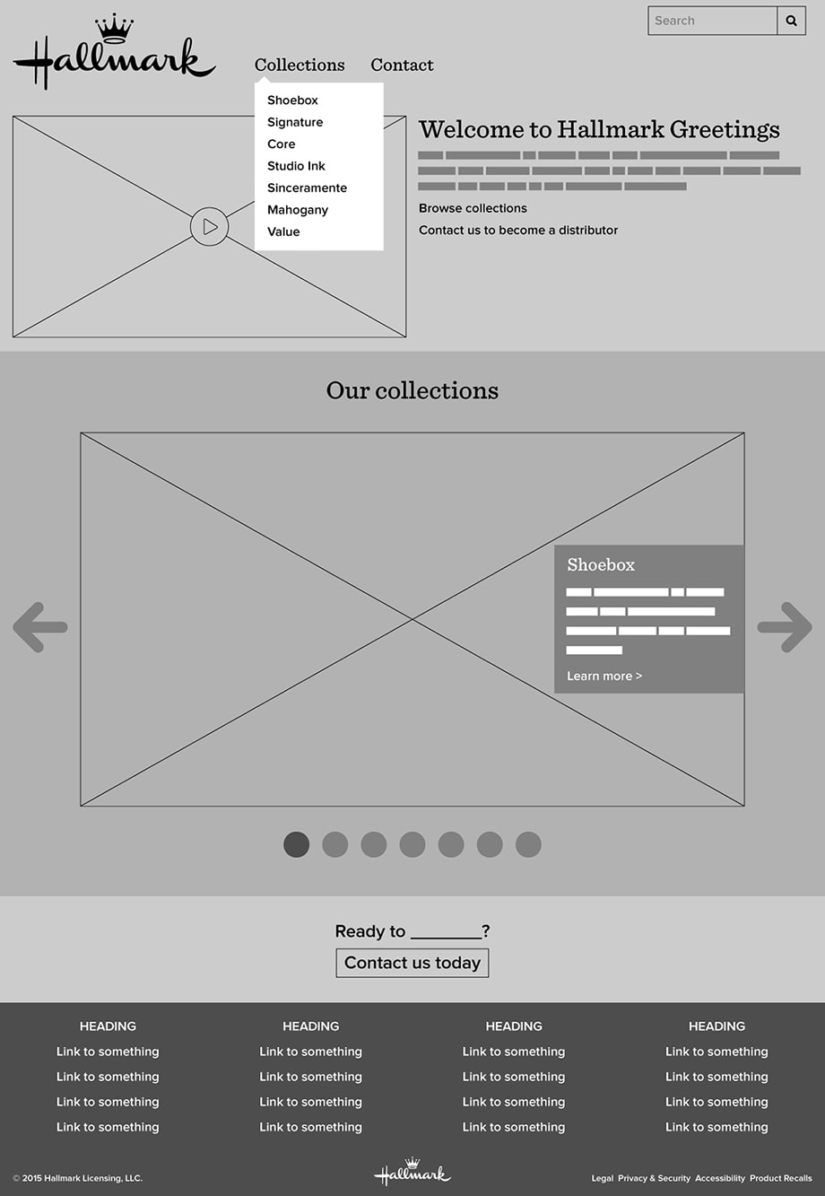 Homepage wireframe - desktop view