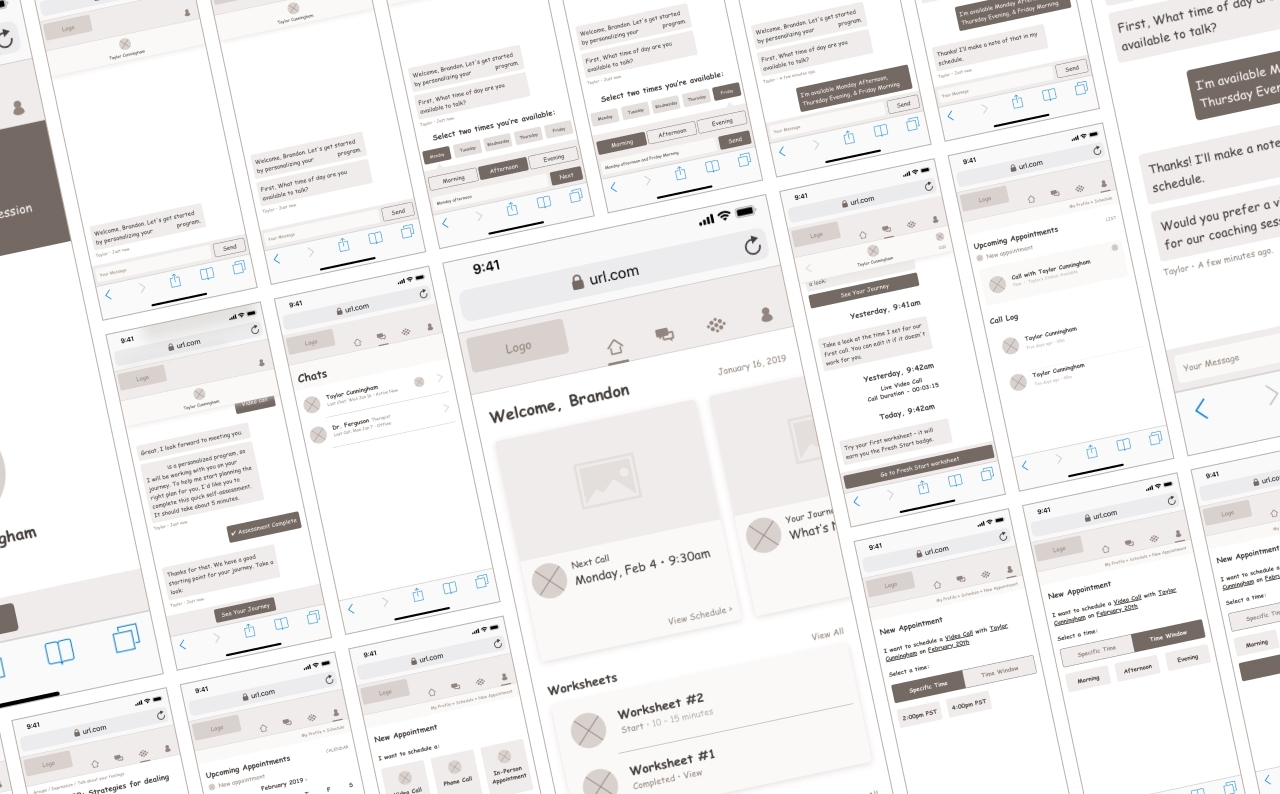 Wireframes, Mobile Web