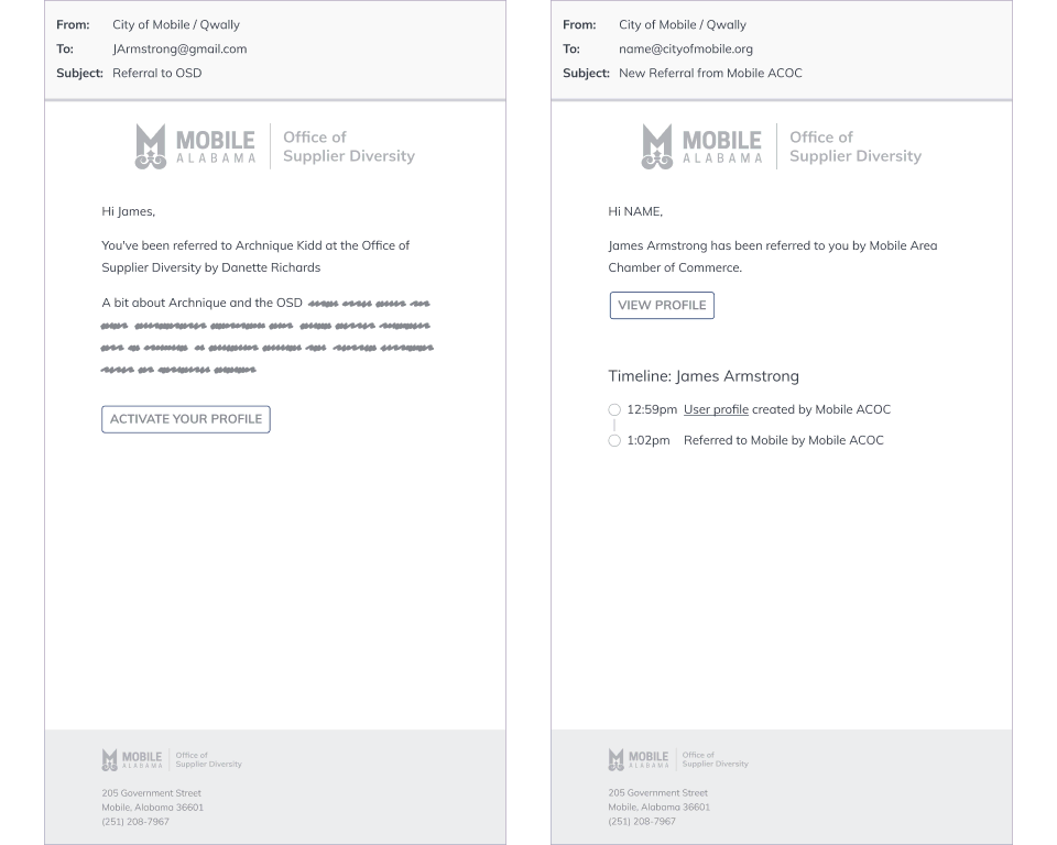 Wireframes: referral emails