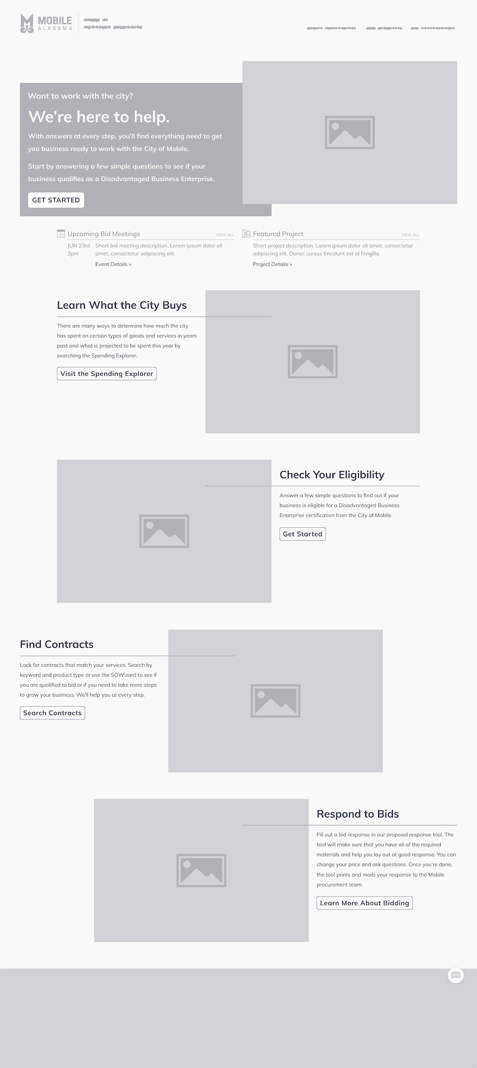 Wireframe: public-facing webpage.
