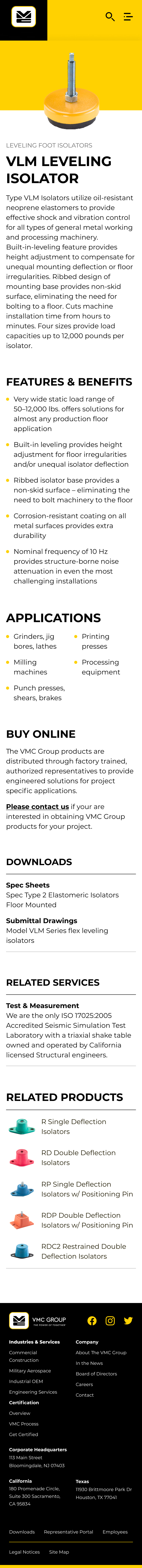 VMC Group Product Page, mobile
