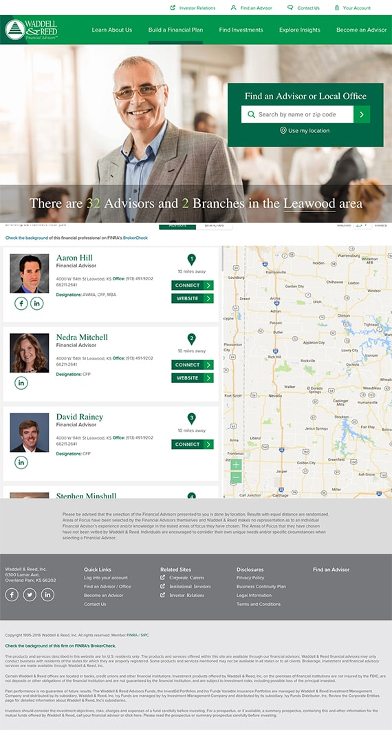 Waddell & Reed - Find an Advisor page